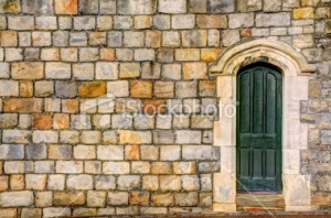 stock-photo-22708282-green-door-with-masonry-wall